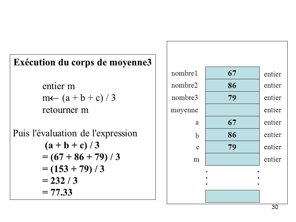 30 86 67 79............ 67 nombre1 nombre2 nombre3 moyenne entier Exécution du corps de moyenne3 entier m m (a + b + c) / 3 retourner m Puis l'évaluat