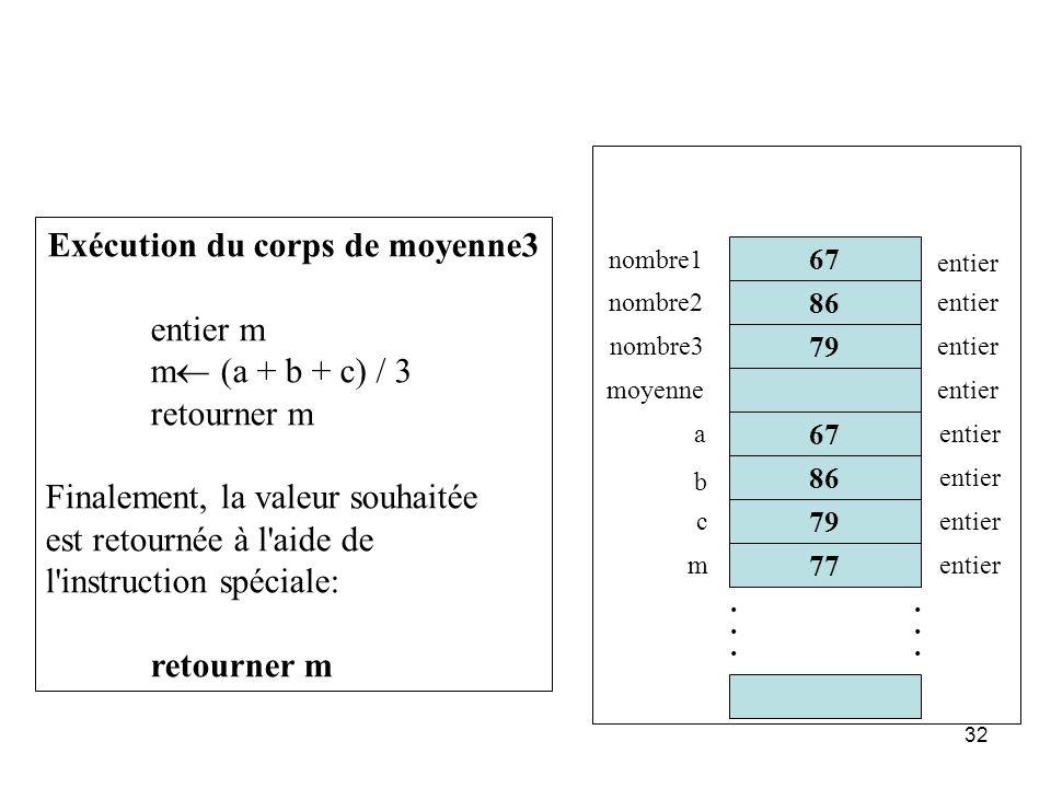 32 86 67 77 79............ 67 nombre1 nombre2 nombre3 moyenne entier Exécution du corps de moyenne3 entier m m (a + b + c) / 3 retourner m Finalement,