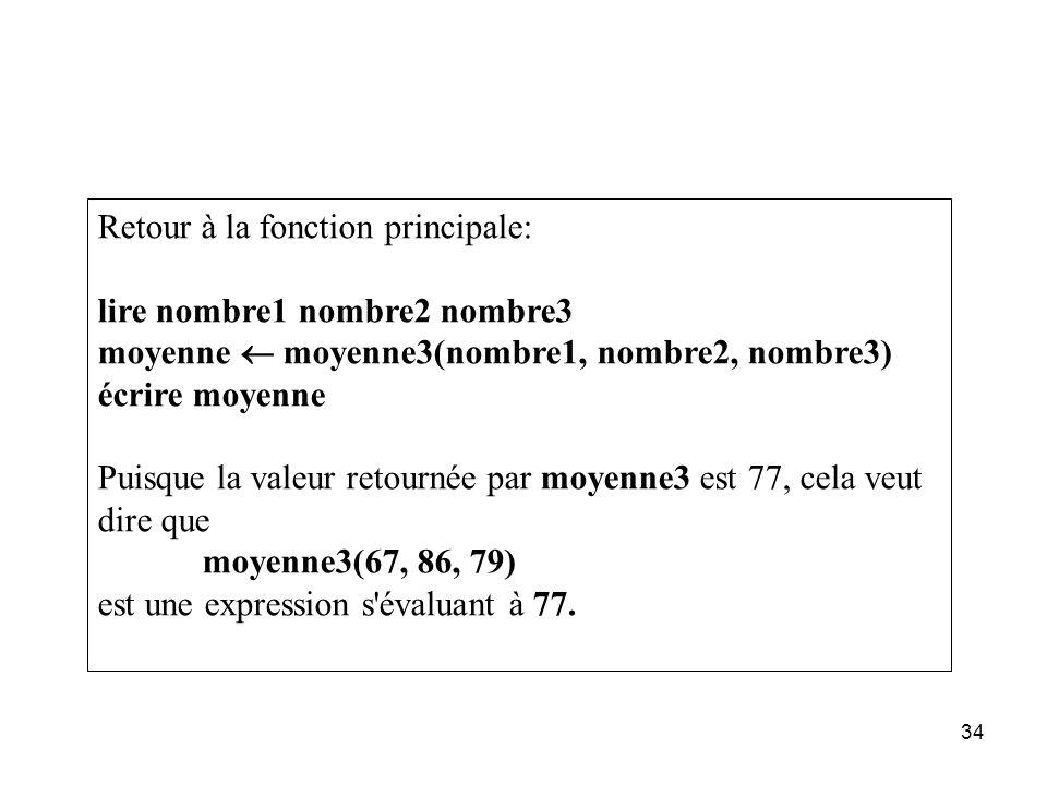 34 Retour à la fonction principale: lire nombre1 nombre2 nombre3 moyenne moyenne3(nombre1, nombre2, nombre3) écrire moyenne Puisque la valeur retourné