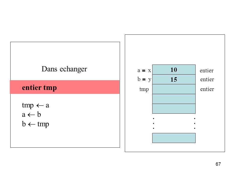 67 entier tmp tmp a a b b tmp entier tmp 10 15............ a x b y entier tmpentier Dans echanger