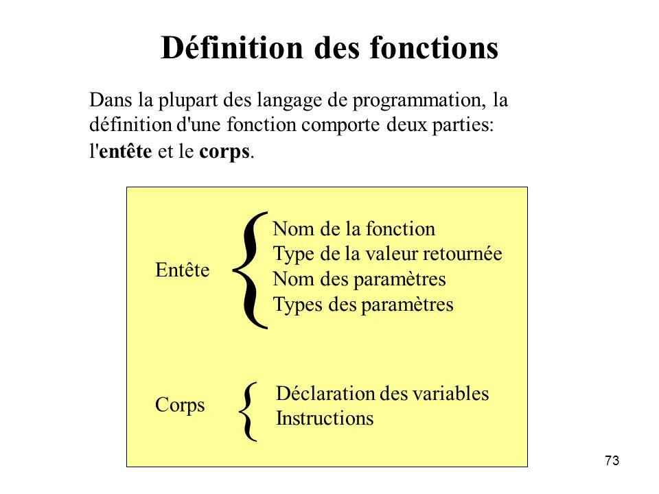 73 Définition des fonctions Dans la plupart des langage de programmation, la définition d'une fonction comporte deux parties: l'entête et le corps. En