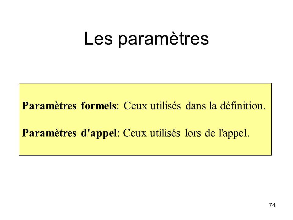 74 Les paramètres Paramètres formels: Ceux utilisés dans la définition. Paramètres d'appel: Ceux utilisés lors de l'appel.