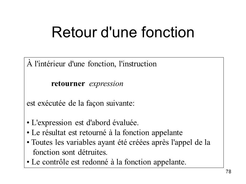 78 Retour d'une fonction À l'intérieur d'une fonction, l'instruction retourner expression est exécutée de la façon suivante: L'expression est d'abord