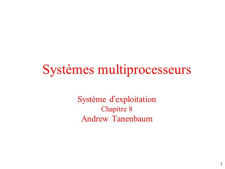 Systèmes multiprocesseurs Système dexploitation Chapitre 8 Andrew Tanenbaum 1
