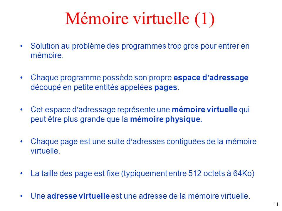 Mémoire virtuelle (1) Solution au problème des programmes trop gros pour entrer en mémoire.