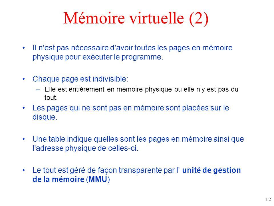Mémoire virtuelle (2) Il nest pas nécessaire davoir toutes les pages en mémoire physique pour exécuter le programme.