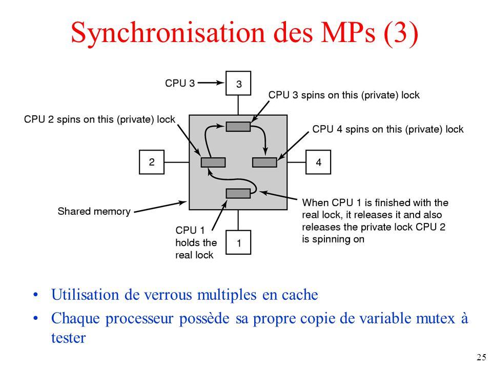 Synchronisation des MPs (3) Utilisation de verrous multiples en cache Chaque processeur possède sa propre copie de variable mutex à tester 25