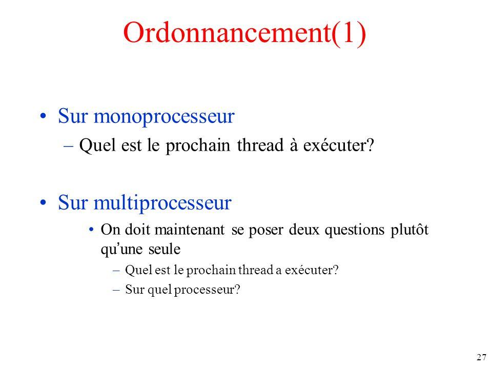 Ordonnancement(1) Sur monoprocesseur –Quel est le prochain thread à exécuter.