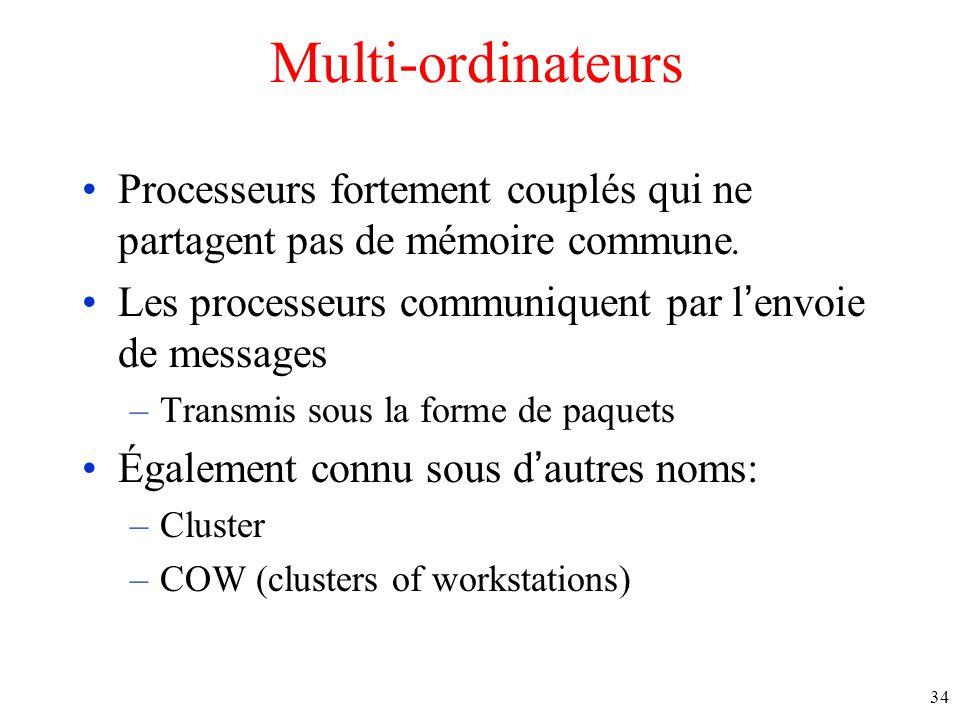 Multi-ordinateurs Processeurs fortement couplés qui ne partagent pas de mémoire commune.