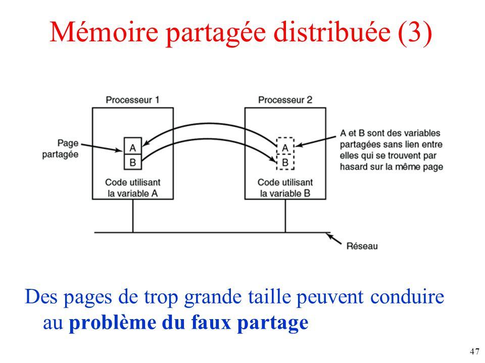 Mémoire partagée distribuée (3) Des pages de trop grande taille peuvent conduire au problème du faux partage 47