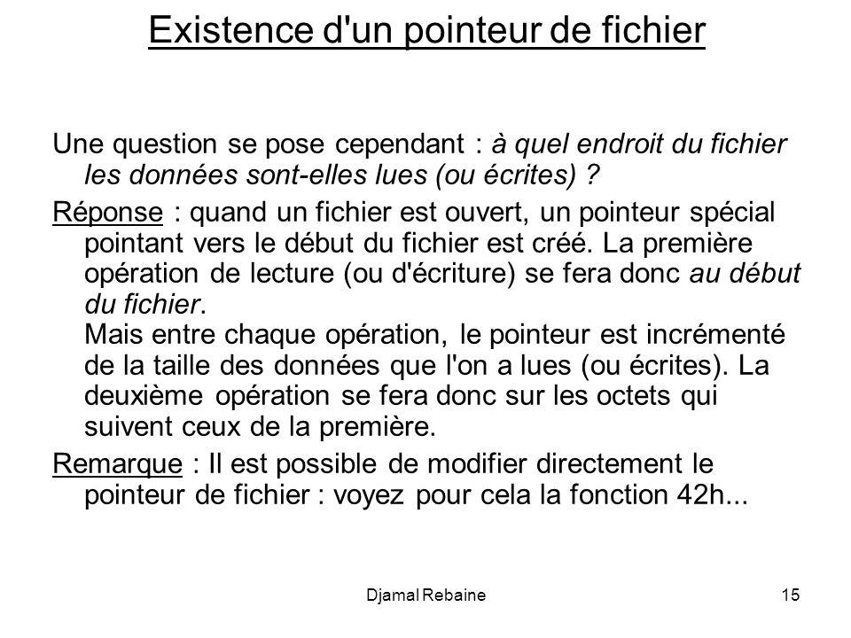 Existence d'un pointeur de fichier Une question se pose cependant : à quel endroit du fichier les données sont-elles lues (ou écrites) ? Réponse : qua