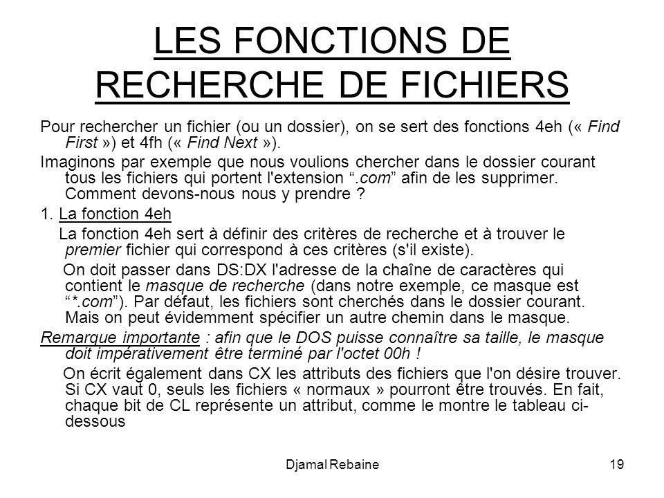LES FONCTIONS DE RECHERCHE DE FICHIERS Pour rechercher un fichier (ou un dossier), on se sert des fonctions 4eh (« Find First ») et 4fh (« Find Next »