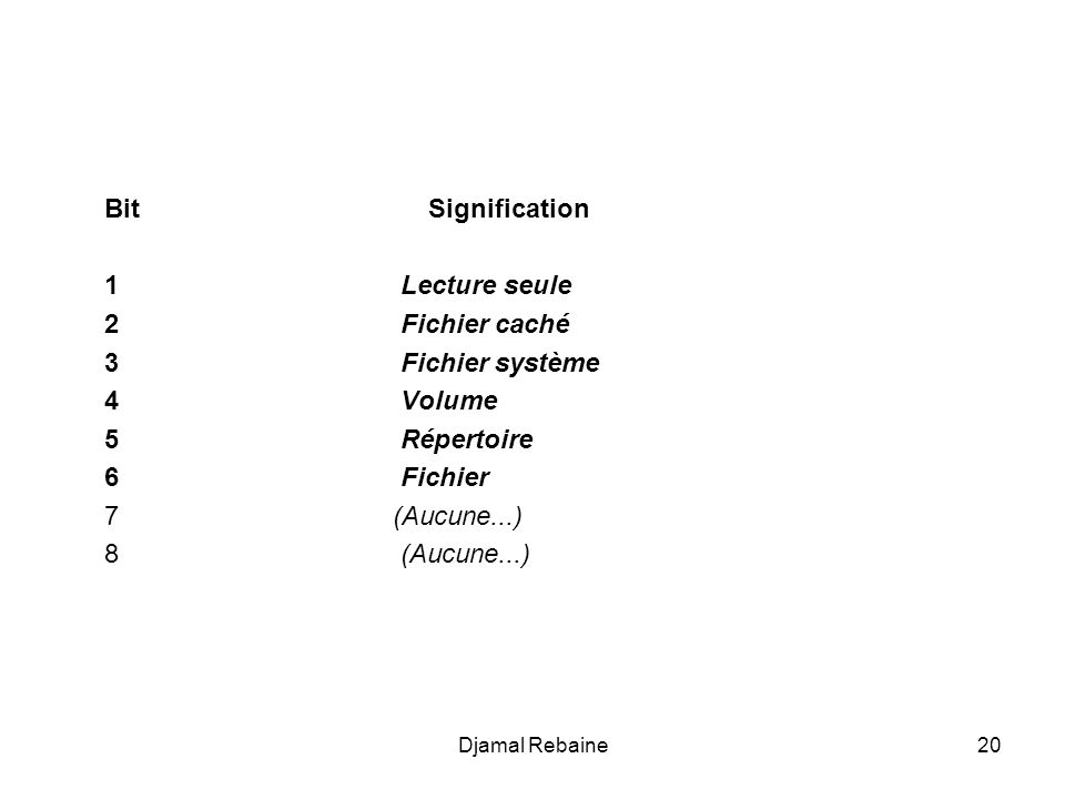 Bit Signification 1 Lecture seule 2 Fichier caché 3 Fichier système 4 Volume 5 Répertoire 6 Fichier 7 (Aucune...) 8 (Aucune...) 20Djamal Rebaine