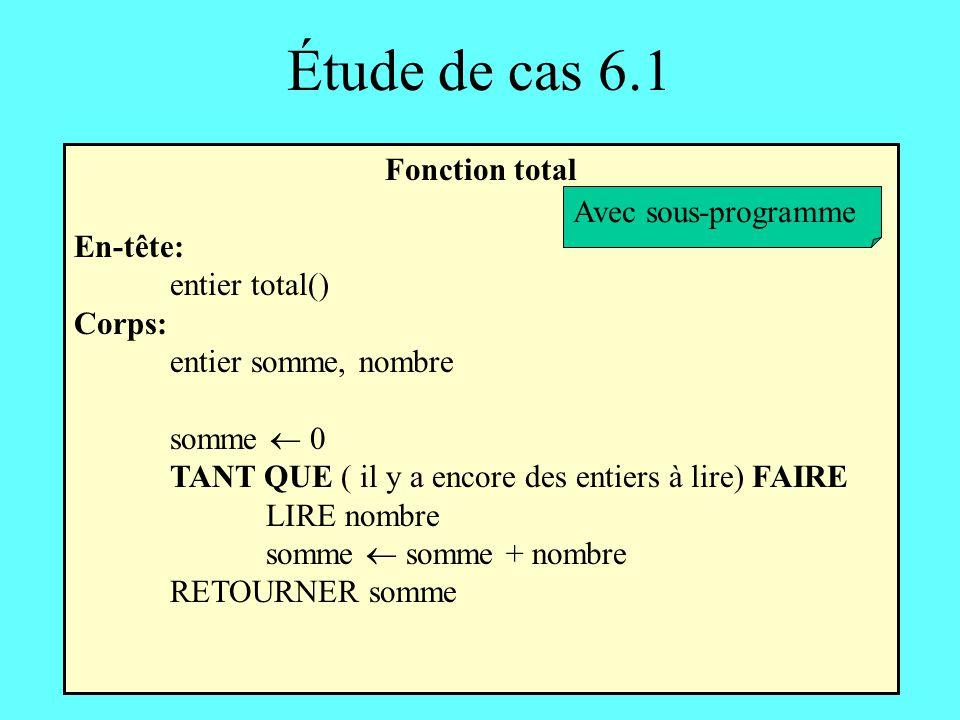 Étude de cas 6.1 Fonction total En-tête: entier total() Corps: entier somme, nombre somme 0 TANT QUE ( il y a encore des entiers à lire) FAIRE LIRE no