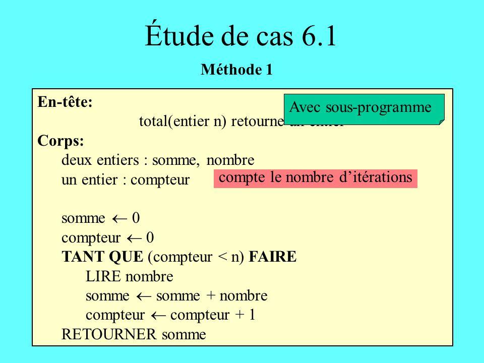 En-tête: total(entier n) retourne un entier Corps: deux entiers : somme, nombre un entier : compteur somme 0 compteur 0 TANT QUE (compteur < n) FAIRE