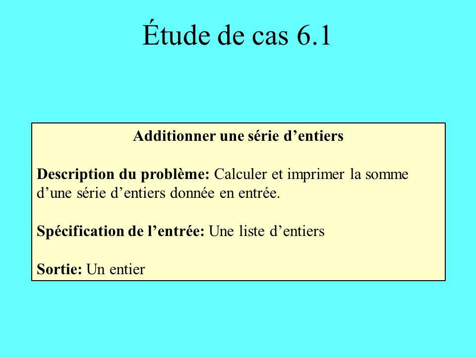 En-tête: total() retourne un entier Corps: deux entiers : somme nombre un entier : fini somme 0 fini 1 TANT QUE (fini 0) FAIRE LIRE nombre SI (nombre = valeur_spéciale) ALORS fini 0 SINON somme somme + nombre RETOURNER somme Étude de cas 6.1 Mis à 0 après avoir lu la valeur spéciale Méthode 2 Avec sous-programme