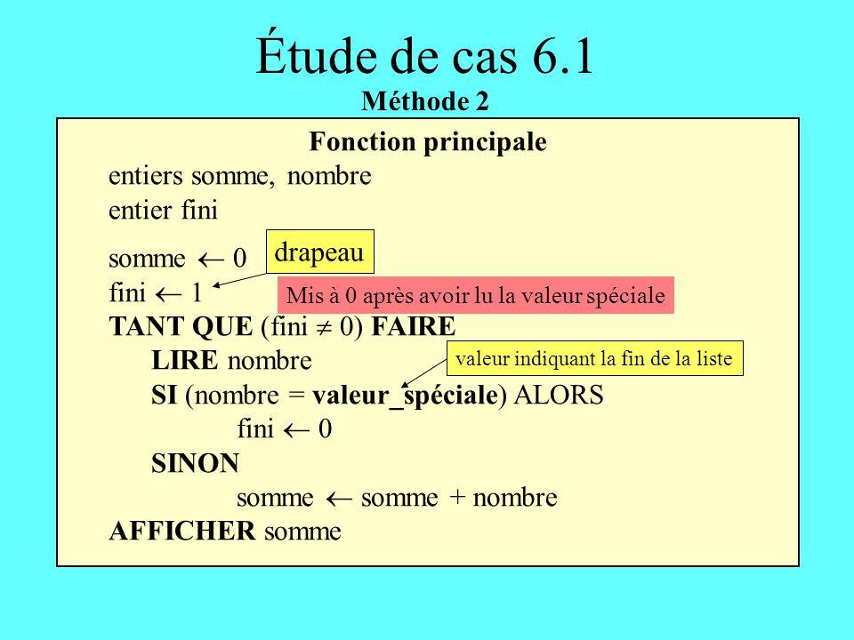 Fonction principale entiers somme, nombre entier fini somme 0 fini 1 TANT QUE (fini 0) FAIRE LIRE nombre SI (nombre = valeur_spéciale) ALORS fini 0 SI