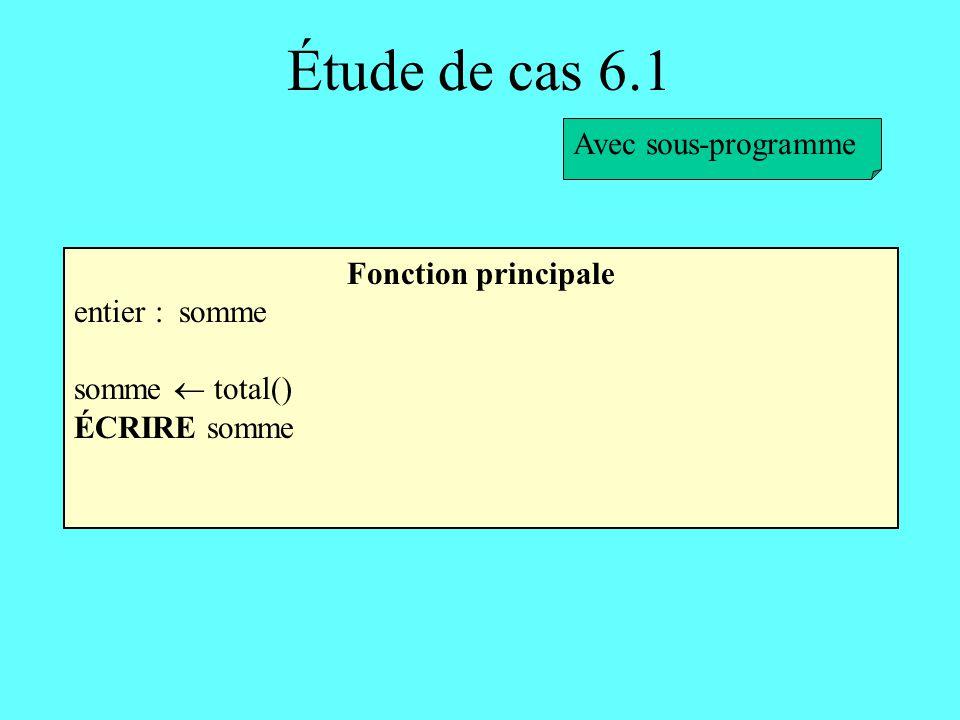 Étude de cas 6.1 Fonction principale entier : somme somme total() ÉCRIRE somme Avec sous-programme