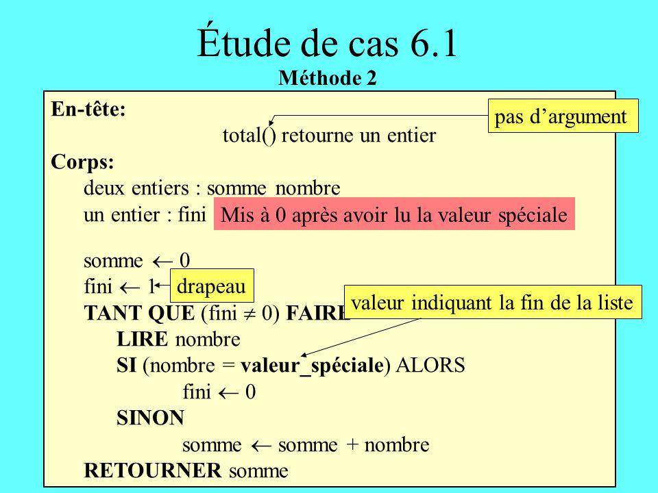 En-tête: total() retourne un entier Corps: deux entiers : somme nombre un entier : fini somme 0 fini 1 TANT QUE (fini 0) FAIRE LIRE nombre SI (nombre