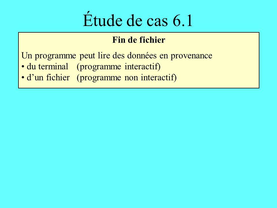 Fin de fichier Un programme peut lire des données en provenance du terminal(programme interactif) dun fichier(programme non interactif) Étude de cas 6