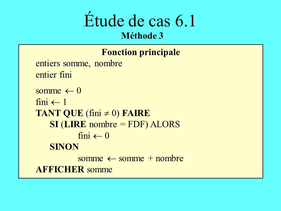 Fonction principale entiers somme, nombre entier fini somme 0 fini 1 TANT QUE (fini 0) FAIRE SI (LIRE nombre = FDF) ALORS fini 0 SINON somme somme + n