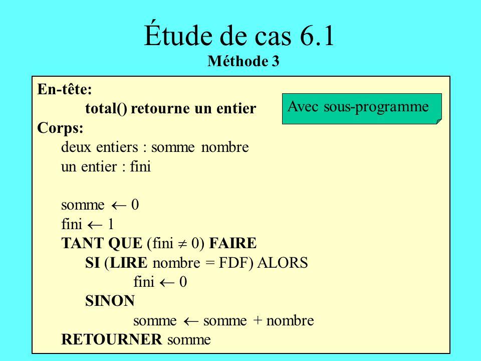 En-tête: total() retourne un entier Corps: deux entiers : somme nombre un entier : fini somme 0 fini 1 TANT QUE (fini 0) FAIRE SI (LIRE nombre = FDF)