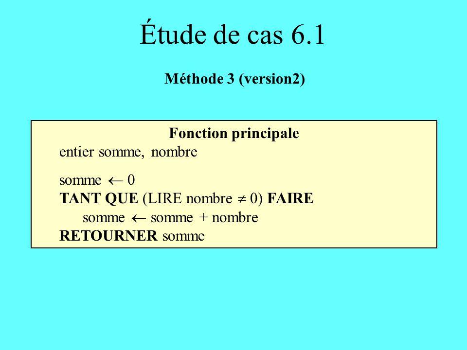 Fonction principale entier somme, nombre somme 0 TANT QUE (LIRE nombre 0) FAIRE somme somme + nombre RETOURNER somme Étude de cas 6.1 Méthode 3 (versi