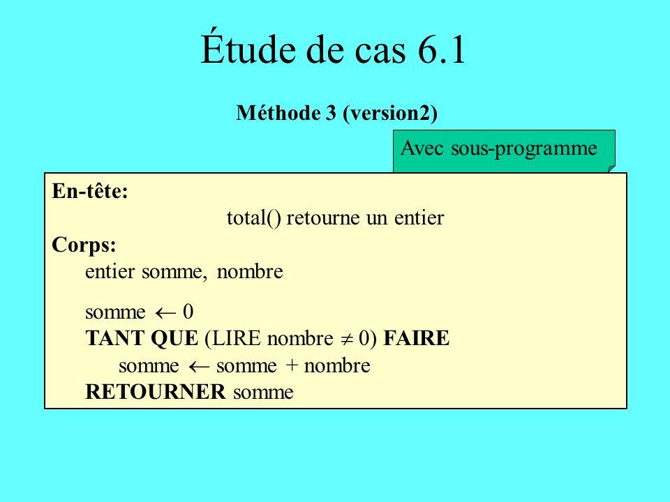 En-tête: total() retourne un entier Corps: entier somme, nombre somme 0 TANT QUE (LIRE nombre 0) FAIRE somme somme + nombre RETOURNER somme Étude de c