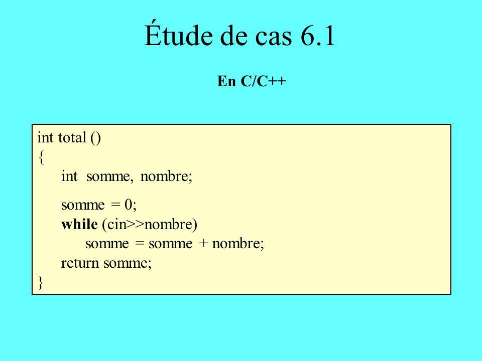 int total () { int somme, nombre; somme = 0; while (cin>>nombre) somme = somme + nombre; return somme; } Étude de cas 6.1 En C/C++