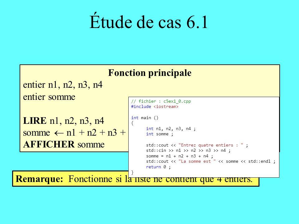 Étude de cas 6.1 Fonction principale entier somme, nombre somme 0 TANT QUE ( il y a encore des entiers à lire) FAIRE LIRE nombre somme somme + nombre ÉCRIRE somme