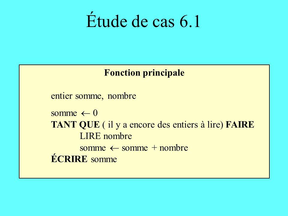 Étude de cas 6.3 Fonction moyenne_groupe En-tête: moyenne_groupe(entier n) retourne un entier Corps: trois entiers : mgroupe, metudiants, nbetudiants un entier : id TANT QUE (LIRE(id) FDF) FAIRE metudiants total(n) / n ÉCRIRE La moyenne de létudiant id est metudiants RETOURNER la moyenne du groupe fonction vue précédemment