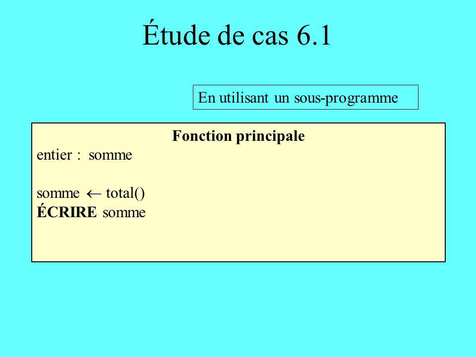 Étude de cas 6.1 Fonction total En-tête: entier total() Corps: 2 entiers : somme, nombre somme 0 TANT QUE ( il y a encore des entiers à lire) FAIRE LIRE nombre somme somme + nombre RETOURNER somme