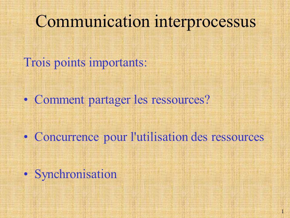 1 Trois points importants: Comment partager les ressources? Concurrence pour l'utilisation des ressources Synchronisation Communication interprocessus