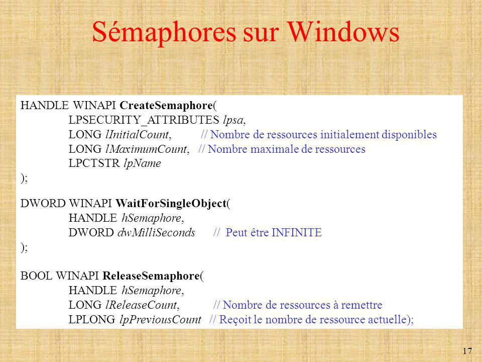 17 Sémaphores sur Windows HANDLE WINAPI CreateSemaphore( LPSECURITY_ATTRIBUTES lpsa, LONG lInitialCount, // Nombre de ressources initialement disponibles LONG lMaximumCount, // Nombre maximale de ressources LPCTSTR lpName ); DWORD WINAPI WaitForSingleObject( HANDLE hSemaphore, DWORD dwMilliSeconds // Peut être INFINITE ); BOOL WINAPI ReleaseSemaphore( HANDLE hSemaphore, LONG lReleaseCount, // Nombre de ressources à remettre LPLONG lpPreviousCount // Reçoit le nombre de ressource actuelle);