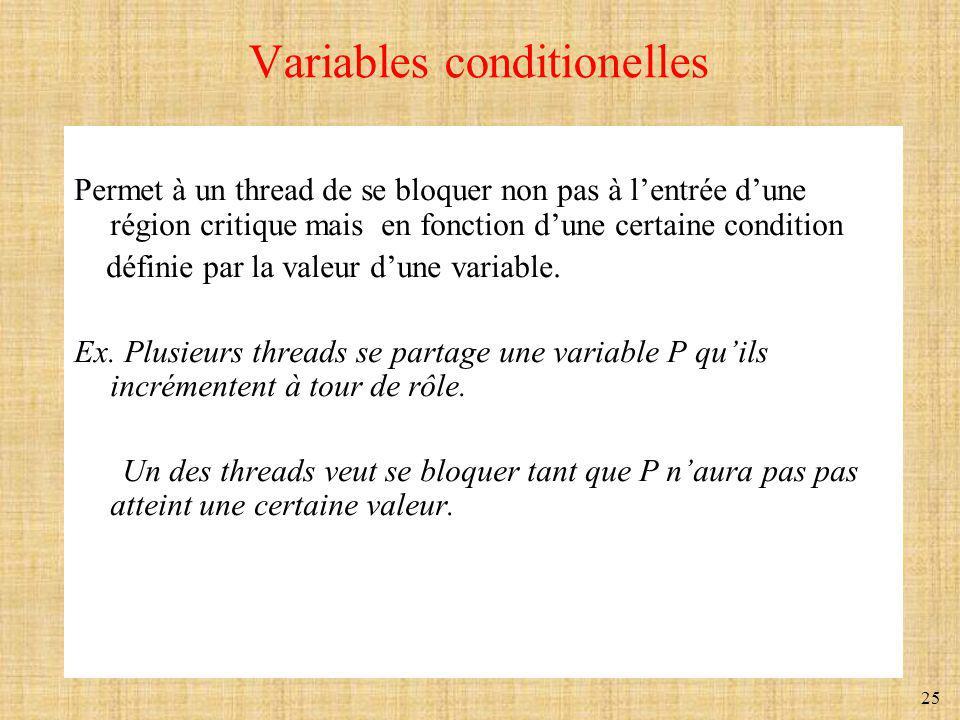 25 Variables conditionelles Permet à un thread de se bloquer non pas à lentrée dune région critique mais en fonction dune certaine condition définie p