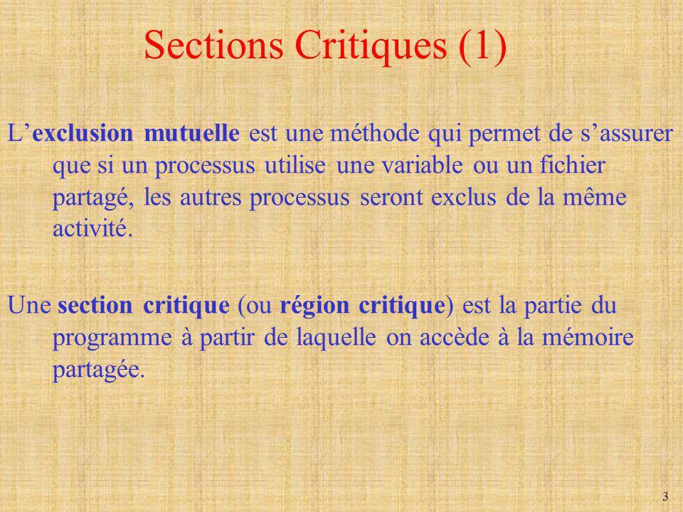 3 Sections Critiques (1) Lexclusion mutuelle est une méthode qui permet de sassurer que si un processus utilise une variable ou un fichier partagé, le