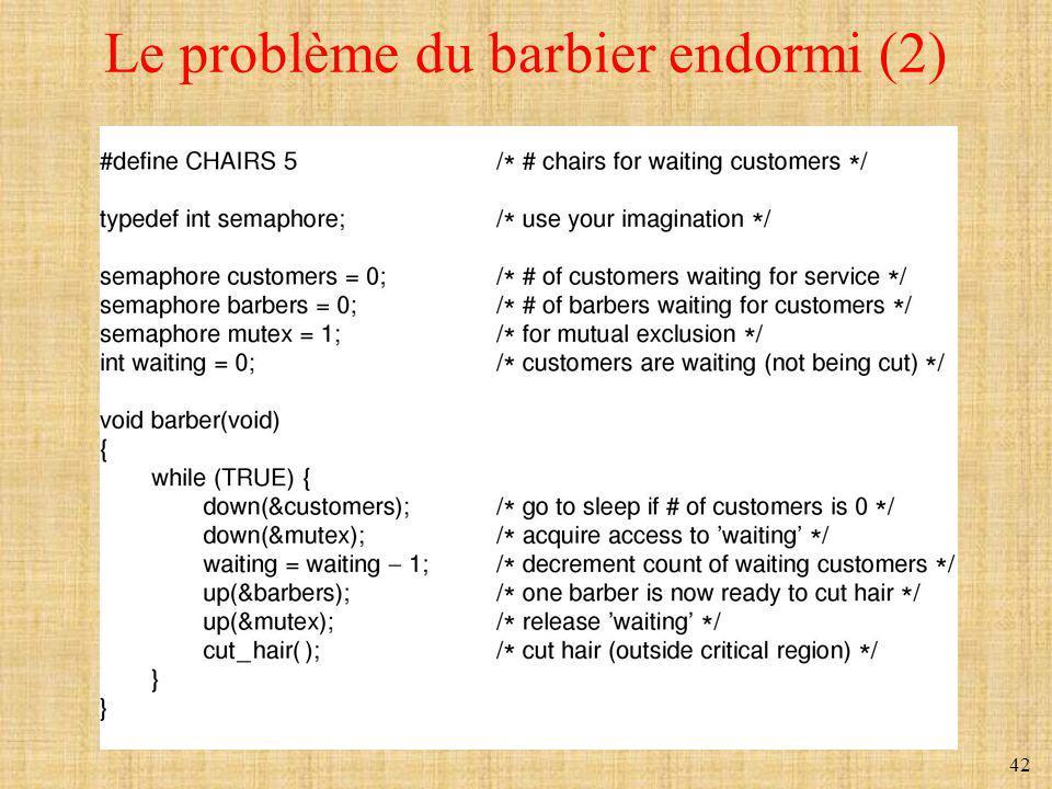 42 Le problème du barbier endormi (2)