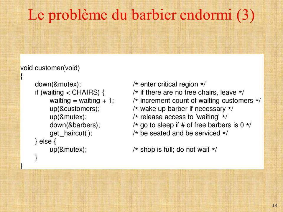 43 Le problème du barbier endormi (3)
