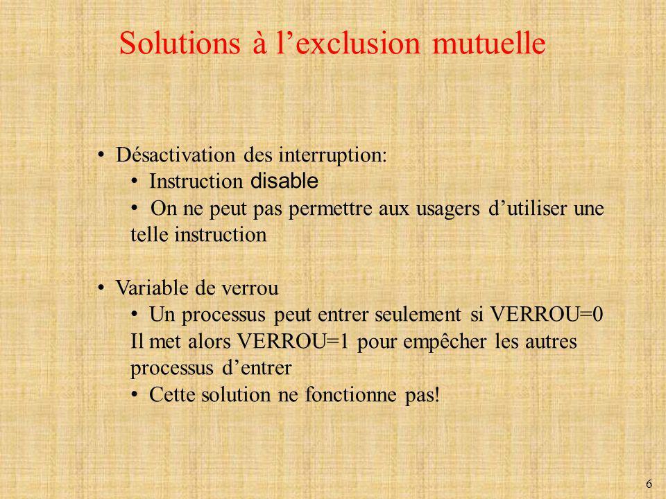 7 Alternance stricte Proposition de solution au problème de la section critique (a) Processus 0.
