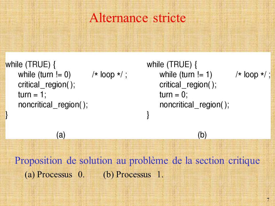 8 Solution de Peterson (1981) #define FALSE 0 #define TRUE 1 #define N 2 /* nombre de processus */ int turn; /* à qui le tour .
