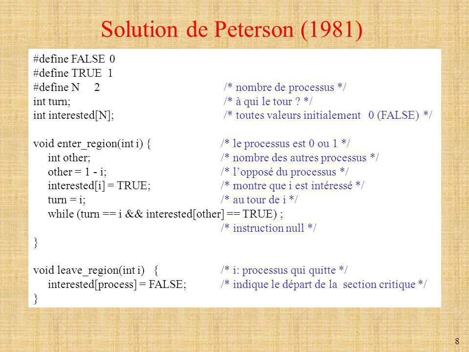 9 Solution de Peterson (n processus) // Il y a n processus.