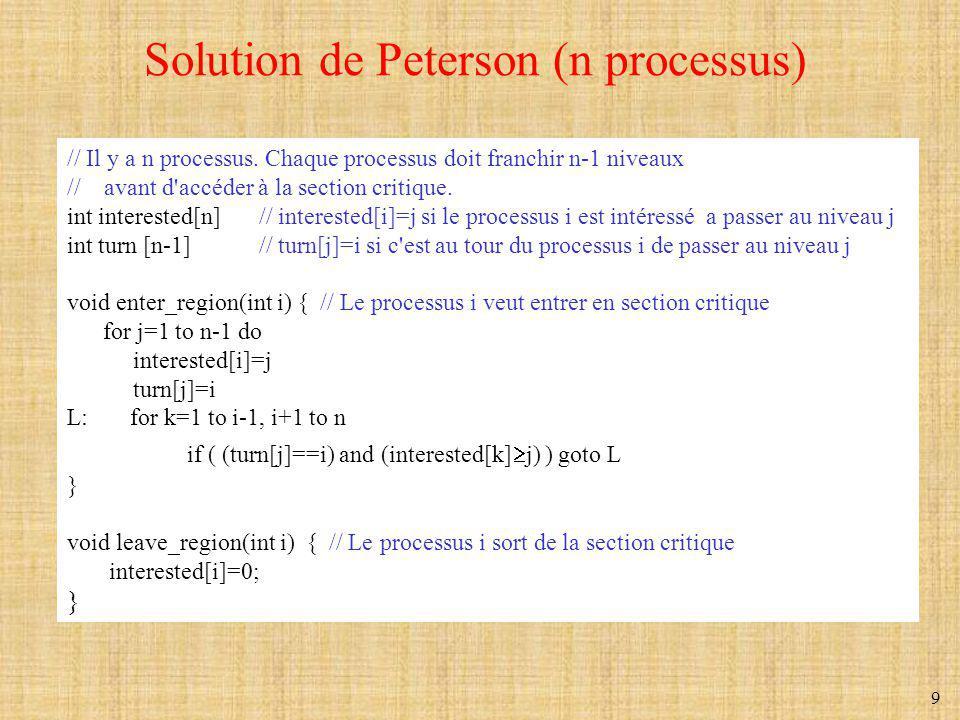 10 L instruction TSL (Test and Set Lock) TSL R, LOCK est une opération atomique équivalente à: R=LOCK LOCK=1 enter_region: TSL REGISTER,LOCK | copie lock dans le registre et le définit à 1 CMP REGISTER,#0 | lock était-il à 0 .