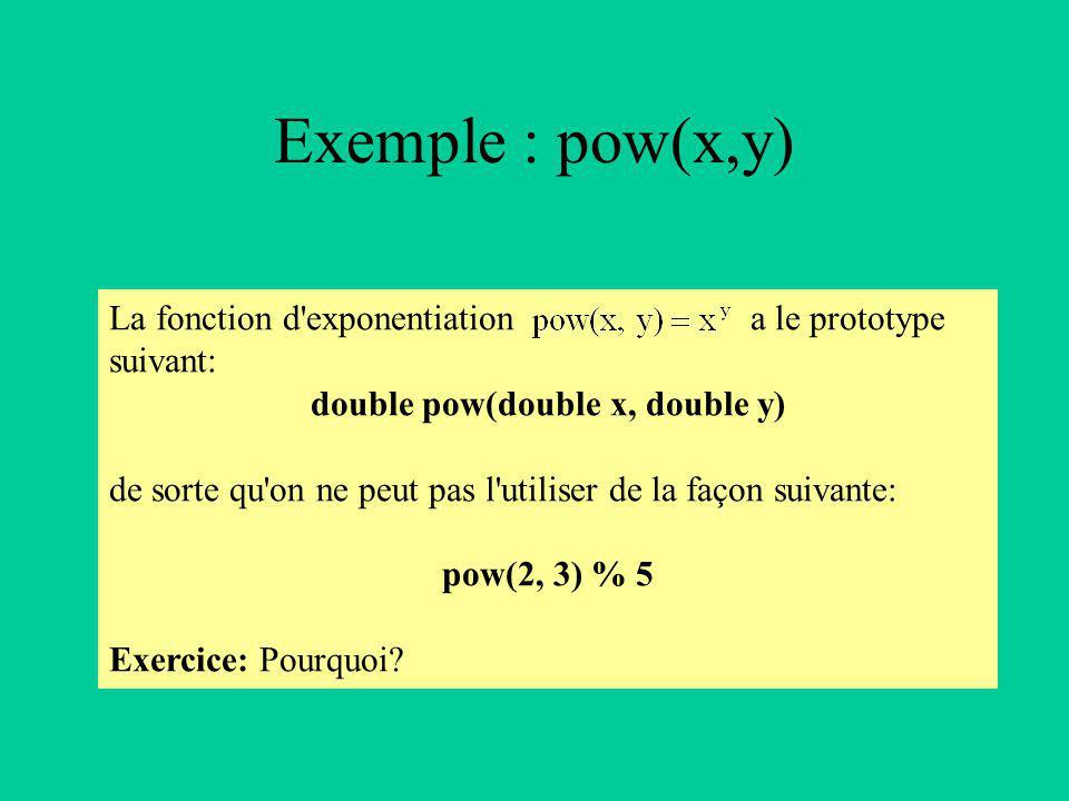 Exemple : pow(x,y) La fonction d exponentiation a le prototype suivant: double pow(double x, double y) de sorte qu on ne peut pas l utiliser de la façon suivante: pow(2, 3) % 5 Exercice: Pourquoi