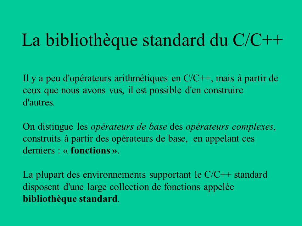 La bibliothèque standard du C/C++ Il y a peu d opérateurs arithmétiques en C/C++, mais à partir de ceux que nous avons vus, il est possible d en construire d autres.