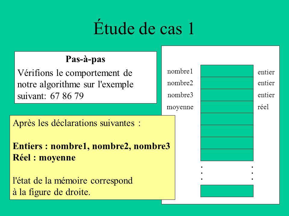Étude de cas 1 Pas-à-pas Vérifions le comportement de notre algorithme sur l exemple suivant: 67 86 79 Après les déclarations suivantes : Entiers : nombre1, nombre2, nombre3 Réel : moyenne l état de la mémoire correspond à la figure de droite.............