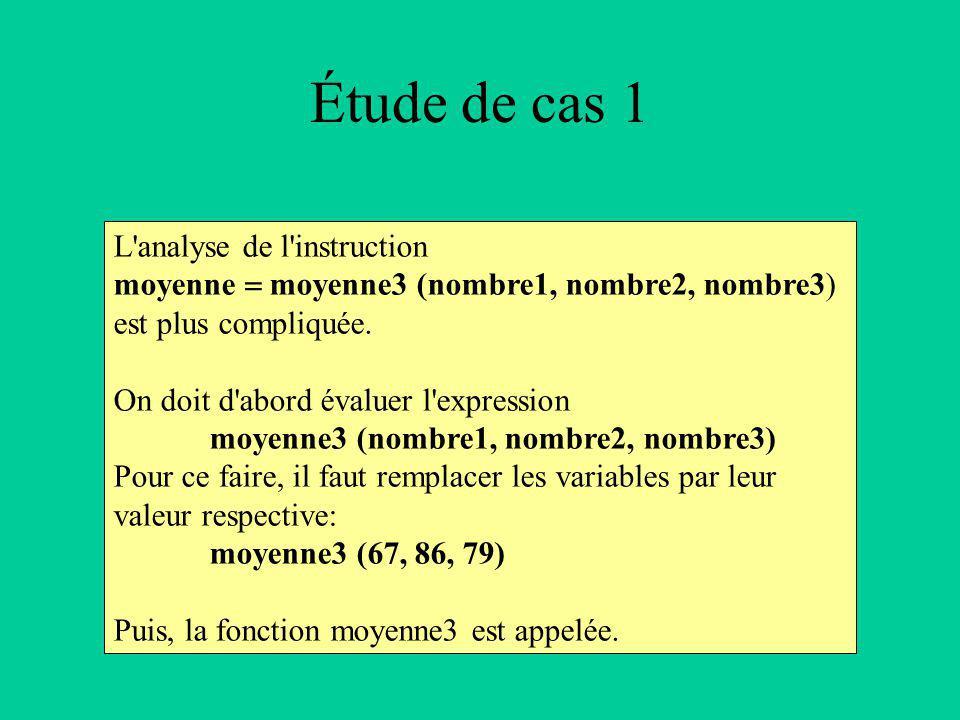 Étude de cas 1 L analyse de l instruction moyenne moyenne3 (nombre1, nombre2, nombre3) est plus compliquée.