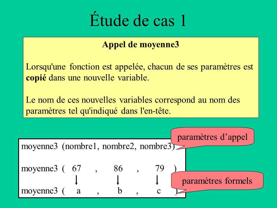 Étude de cas 1 Appel de moyenne3 Lorsqu une fonction est appelée, chacun de ses paramètres est copié dans une nouvelle variable.
