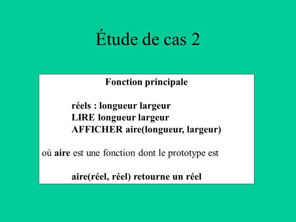 Étude de cas 2 Fonction principale réels : longueur largeur LIRE longueur largeur AFFICHER aire(longueur, largeur) où aire est une fonction dont le prototype est aire(réel, réel) retourne un réel