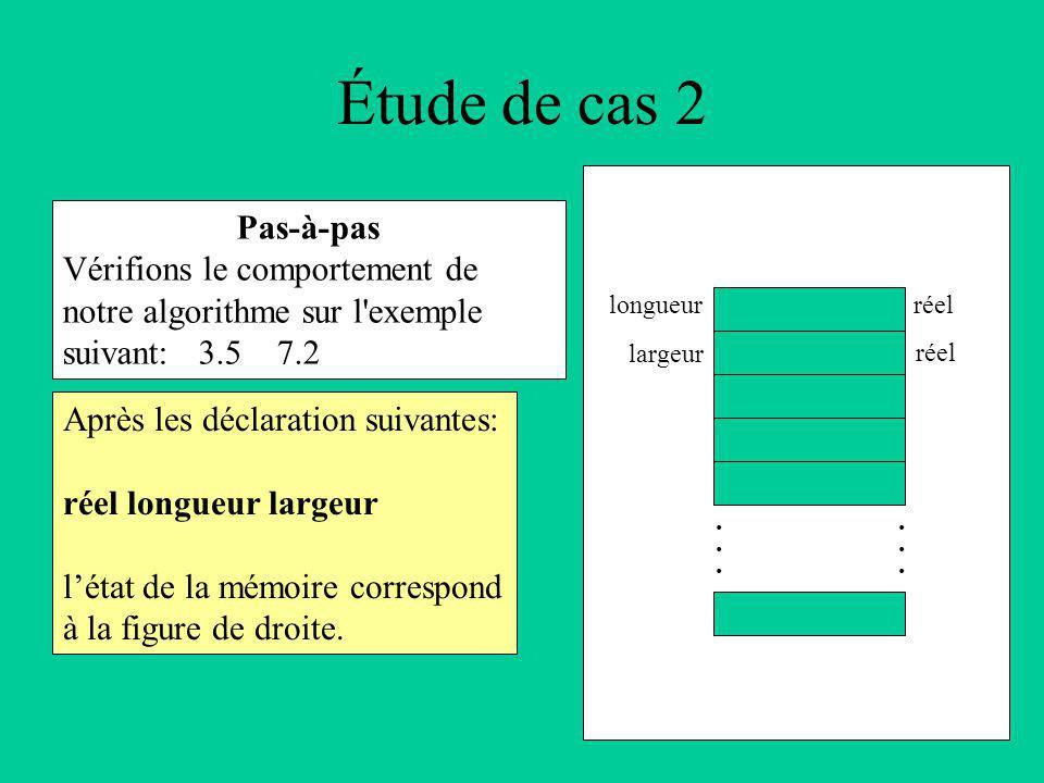 Étude de cas 2 Pas-à-pas Vérifions le comportement de notre algorithme sur l exemple suivant: 3.5 7.2 Après les déclaration suivantes: réel longueur largeur létat de la mémoire correspond à la figure de droite.............