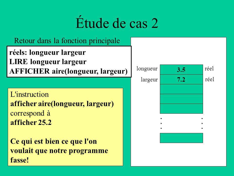 Étude de cas 2 L instruction afficher aire(longueur, largeur) correspond à afficher 25.2 Ce qui est bien ce que l on voulait que notre programme fasse.
